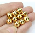 10mm Smooth Round Beads, Gold Plated, Pack of 20