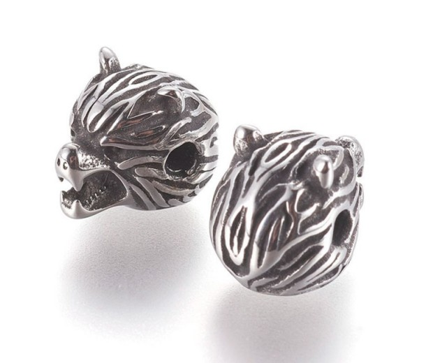 14mm Angry Wolf Head Focal Bead, Stainless Steel