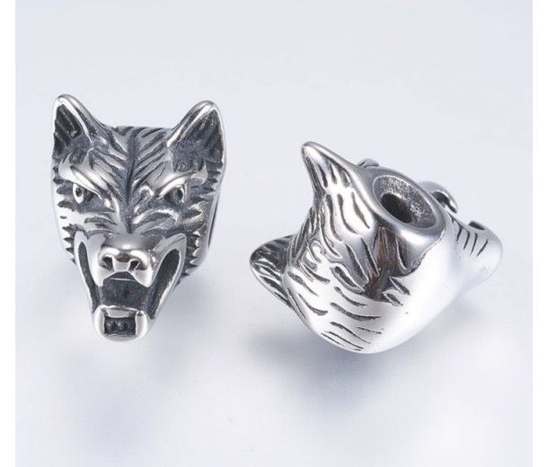13mm Wolf Head Focal Bead, Stainless Steel