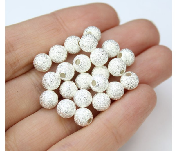 6mm Round Premium Stardust Beads, Silver Plated, Pack of 30