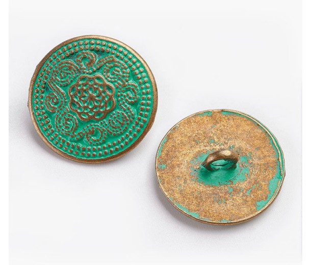 20mm Ornate Metal Shank Button, Green Patina
