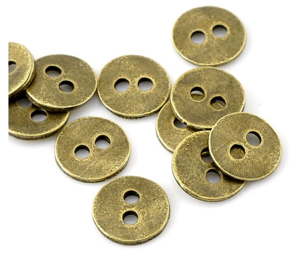 11mm Simple Button Metal Beads, Antique Brass, Pack of 10