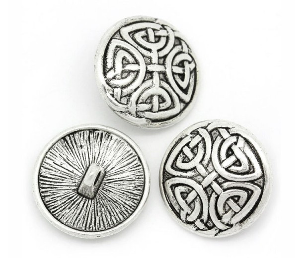 17mm Celtic Shield Metal Shank Button, Antique Silver, 1 Piece
