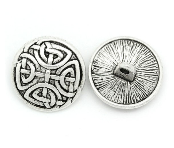 17mm Celtic Shield Metal Shank Buttons, Antique Silver