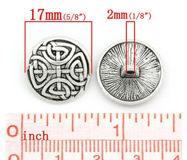 17mm Celtic Shield Metal Shank Button, Antique Silver, 1 Piece