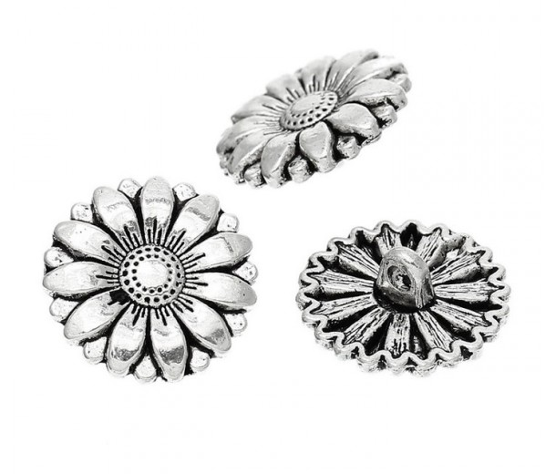 18mm Sunflower Metal Shank Button, Antique Silver, 1 Piece