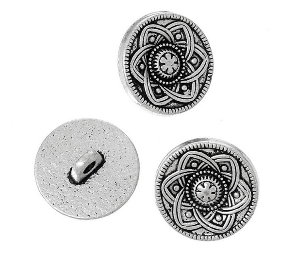 15mm Celtic Flower Metal Shank Buttons, Antique Silver