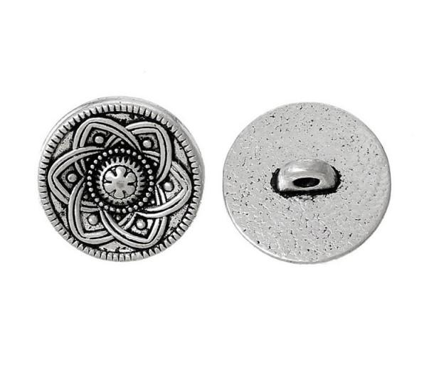 15mm Celtic Flower Metal Shank Button, Antique Silver, 1 Piece