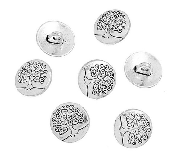 14mm Tree of Life Metal Shank Buttons, Antique Silver