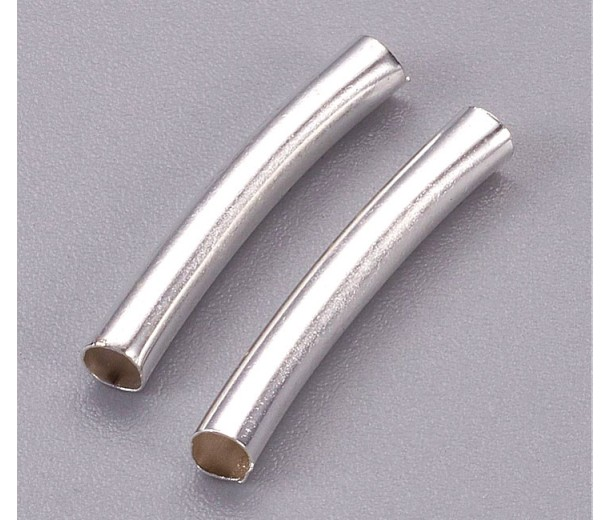 20mm Curved Tube Beads, 2mm Hole, Silver Tone, Pack of 10