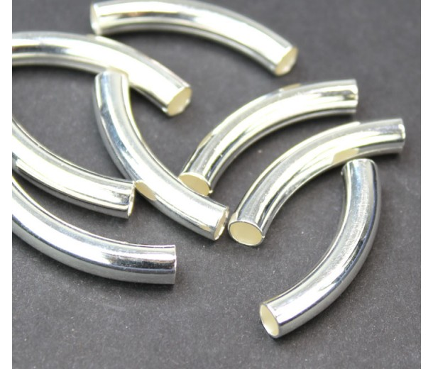 30mm Curved Smooth Tube Bead, 4mm Hole, Silver Plated