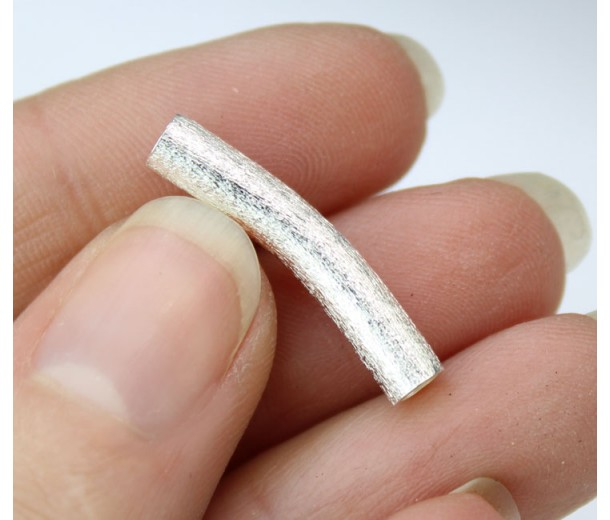 23mm Curved Textured Tube Bead, 2.5mm Hole, Silver Plated