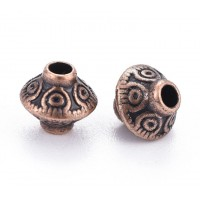 7mm Bicone Beads, Antique Copper, Pack of 40