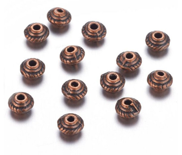 5mm Saucer Beads, Antique Copper, Pack of 100