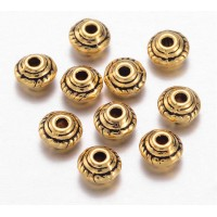5mm Saucer Beads, Antique Gold, Pack of 100