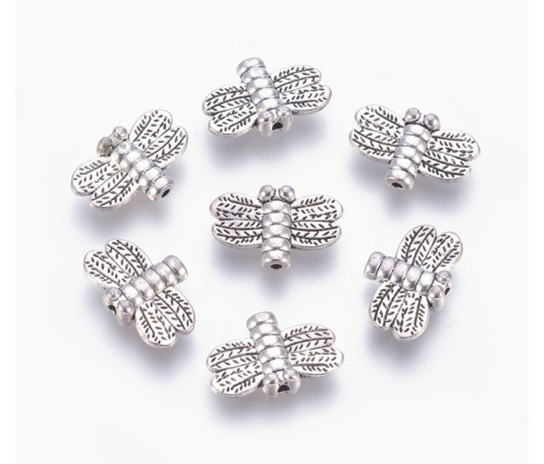 15mm Small Dragonfly Beads, Antique Silver, Pack of 10
