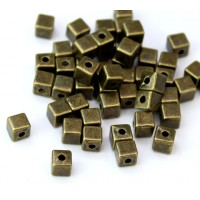 4mm Simple Cube Beads, Antique Brass, Pack of 50