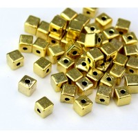 4mm Simple Cube Beads, Antique Gold, Pack of 50