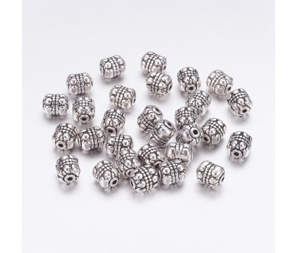 8x6mm Bali Style Barrel Beads, Antique Silver, Pack of 10