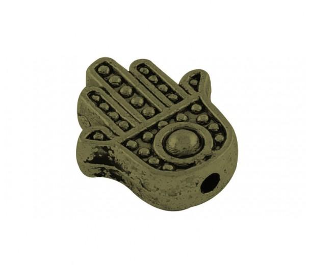12mm Flat Hamsa Hand Beads, Antique Brass, Pack of 10