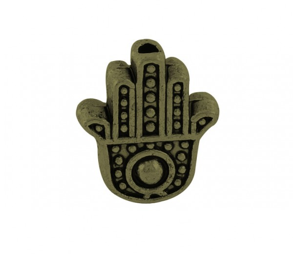 12mm Flat Hamsa Hand Beads, Antique Brass, Pack of 10