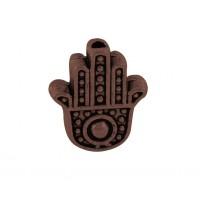 12mm Flat Hamsa Hand Beads, Antique Copper