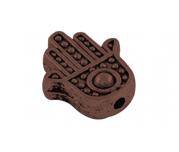 12mm Flat Hamsa Hand Beads, Antique Copper, Pack of 10