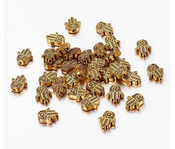 12mm Flat Hamsa Hand Beads, Antique Gold, Pack of 10