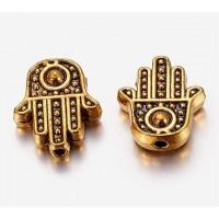 12mm Flat Hamsa Hand Beads, Antique Gold