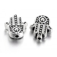 12mm Flat Hamsa Hand Beads, Antique Silver, Pack of 10