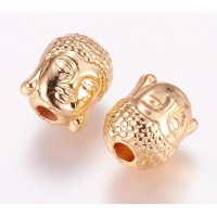 11mm Buddha Head Beads, Gold Plated
