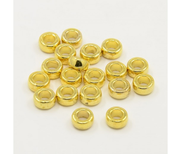 7x4mm Mini Rondelle Spacer Beads, Gold Tone, Pack of 20