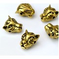 14mm Leopard Head Focal Beads, Antique Gold