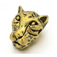 14mm Leopard Head Focal Bead, Antique Gold