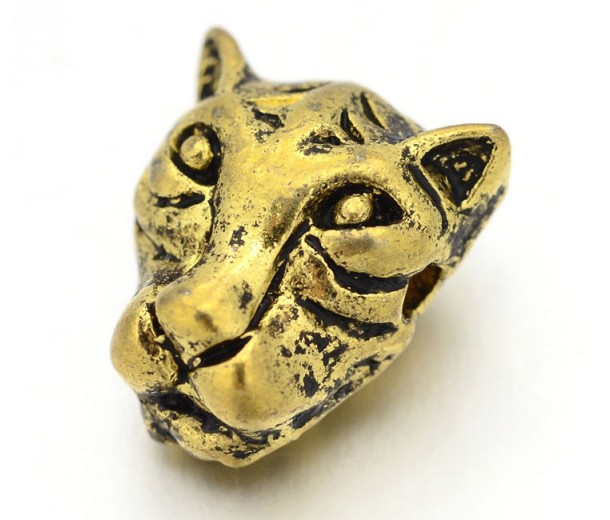 14mm Leopard Head Focal Bead, Antique Gold, 1 Piece