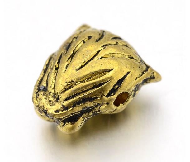 14mm Leopard Head Focal Bead, Antique Gold, 1 Piece