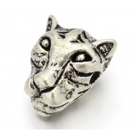 14mm Leopard Head Focal Bead, Antique Silver, 1 Piece