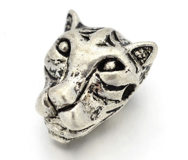 14mm Leopard Head Focal Beads, Antique Silver