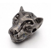 14mm Leopard Head Focal Beads, Gunmetal, 1 Piece