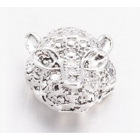 11mm Leopard Head Focal Beads, Silver Tone, Pack of 5