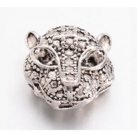 11mm Leopard Head Focal Beads, Antique Silver, Pack of 5