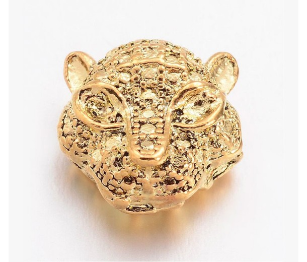 11mm Leopard Head Focal Beads, Gold Tone, Pack of 5