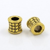 8mm Textured Concave Beads, Antique Gold, Pack of 10