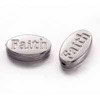 13x8mm Flat Oval Word Beads, Faith, Antique Silver, Pack of 10