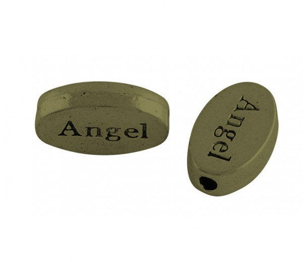 13x8mm Flat Oval Word Beads, Angel, Antique Brass, Pack of 10