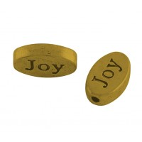 13x8mm Flat Oval Word Beads, Joy, Antique Gold, Pack of 10