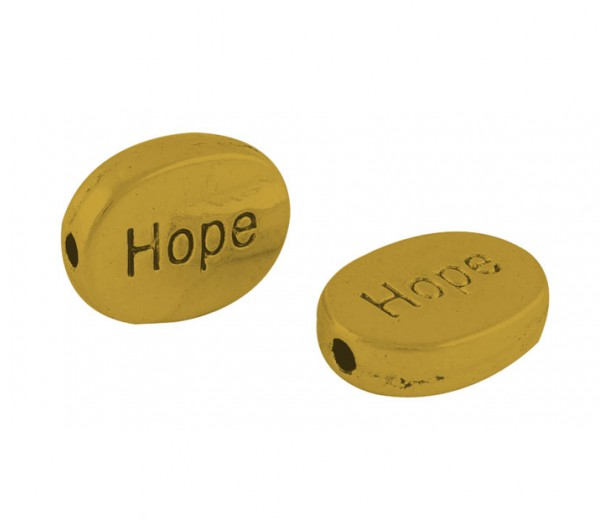 16x12mm Flat Oval Word Beads, Hope, Antique Gold, Pack of 10