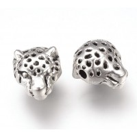 13mm Cheetah Head Focal Beads, Antique Silver, Pack of 5