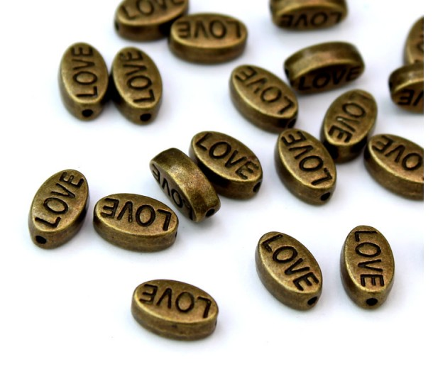 10x6mm Flat Oval Word Beads, Love, Antique Brass, Pack of 10