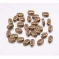 10x6mm Flat Oval Word Beads, Love, Antique Copper, Pack of 10